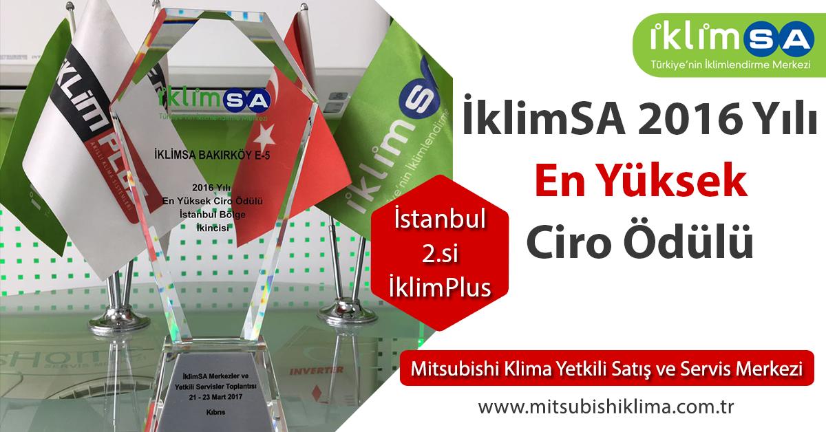 İklimSA 2016 Yılı En Yüksek Ciro Ödülü İstanbul 2.si İklimPlus